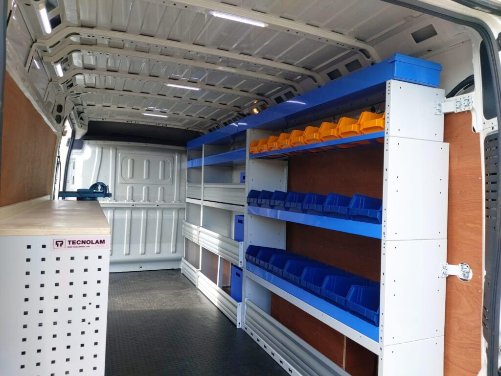 perfect van shelving and van racking for every profession with blue shelvings